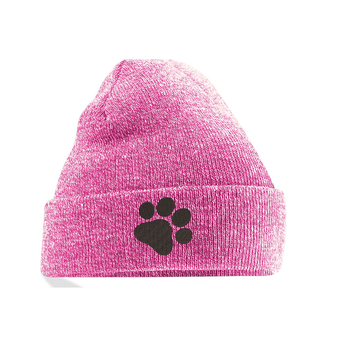 Embroidered pawprint beanie hat heather pink