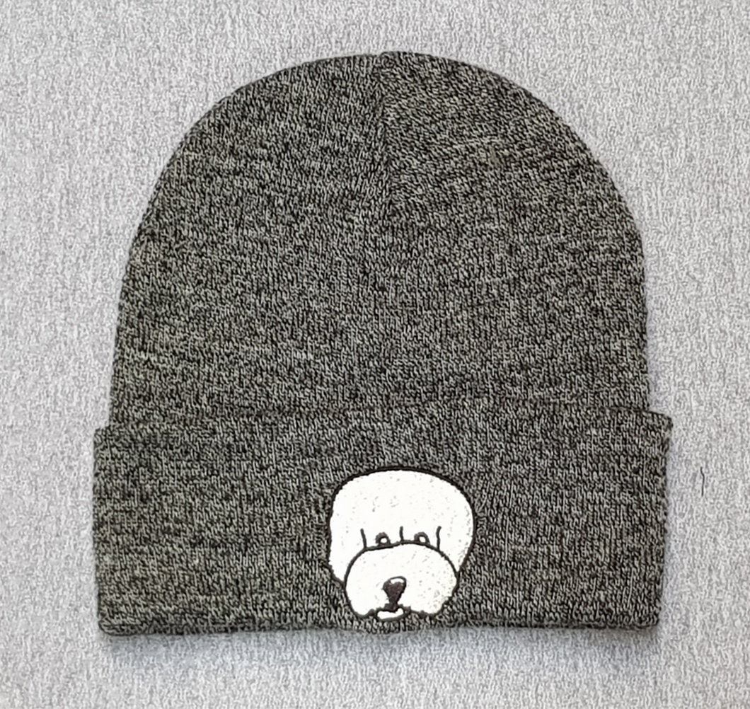 Beanie hat with embroidered Bichon Frise
