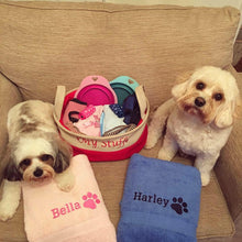 Bella & Harley with personalised towels.