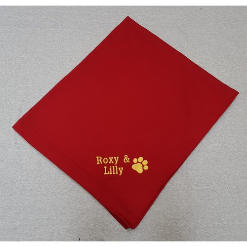 Blanket with embroidered Pawprint and personalised with your dog's name