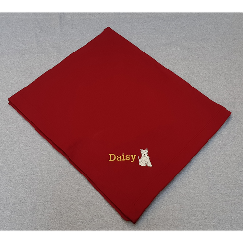 Blanket with embroidered Westie and personalised with your dog's name.