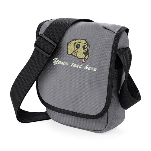 Personalised grey walkies bag with embroidered golden retriever image