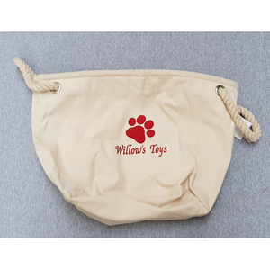 Embroidered pawprint toy bag