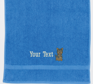 Bright blue yorkie towel