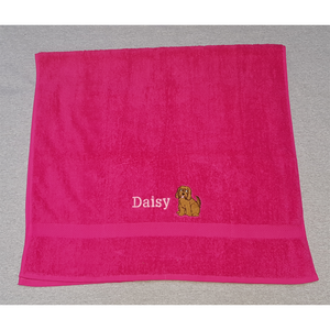 Towel with embroidered Cockapoo