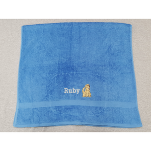 Towel with embroidered Golden Retriever