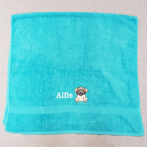 Embroidered Pug Towel
