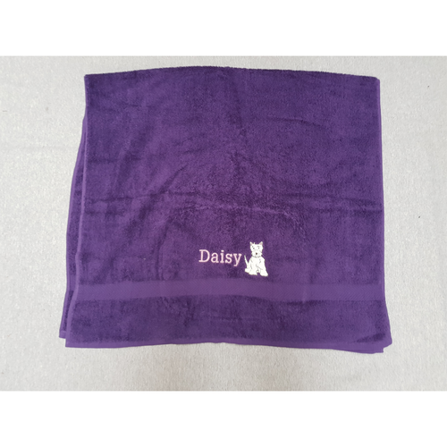 Embroidered Westie Towel