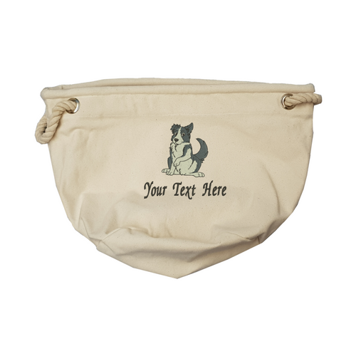 Personalised border collie toy bag