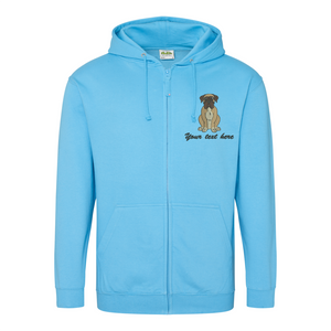 Boxer dog zipped hoodie