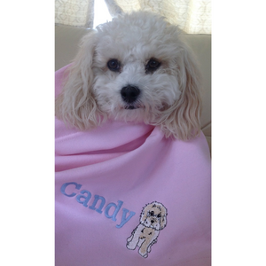 Candy with her personalised Cavachon blanket