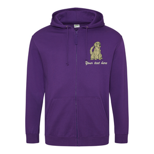 Embroidered Golden Retriever Zipped Hoodie.