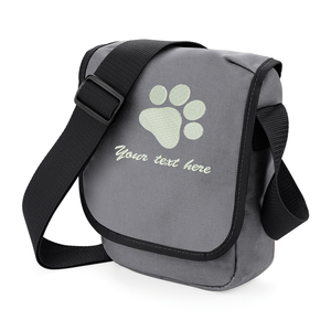 Grey pawprint personalised walkies bag