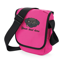 Personalised Pug fuchsia walkies bag