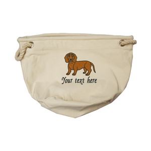 Personalised red sausage dog toy bag