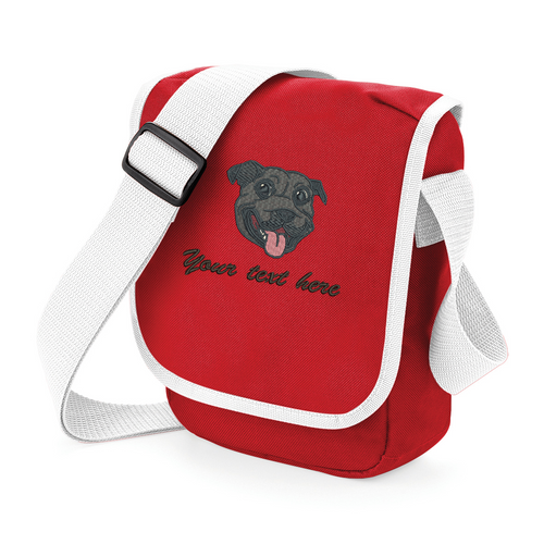 Personalised black staffie walkies bag