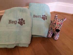 Pawprint towels for Reg and Bert