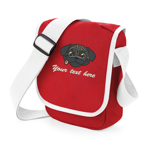 Personalised Pug red walkies bag