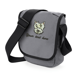Personalised grey westie walkies bag