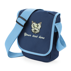 Personalised navy westie walkies bag