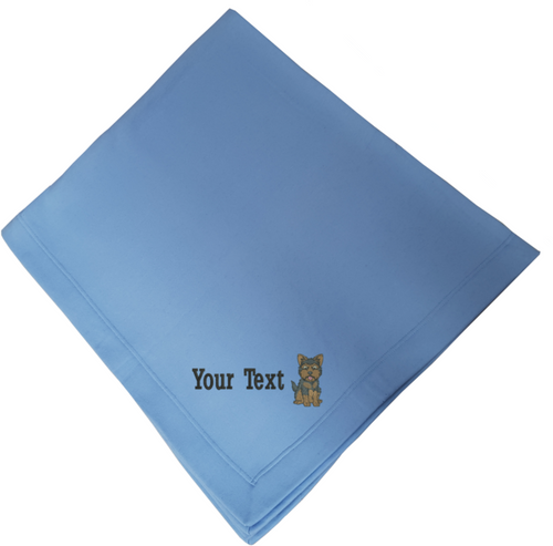 Personalised embroidered yorkie blanket
