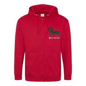 Embroidered Dachshund Zipped Hoodie.