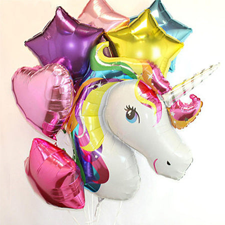 Rainbow Unicorn Foil Balloons 7 pieces
