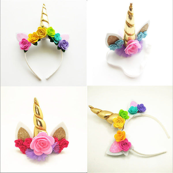 Gold Unicorn Hairbands with Pony Ear and Felt Rose Flower