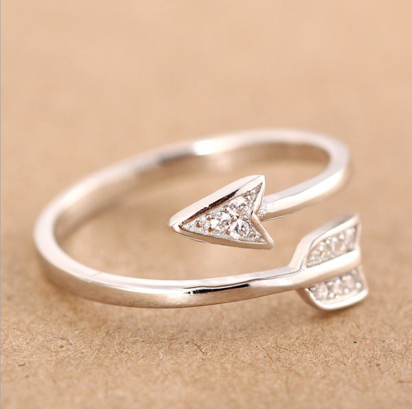 Silver Plated Arrow To My Heart Crystal Rings
