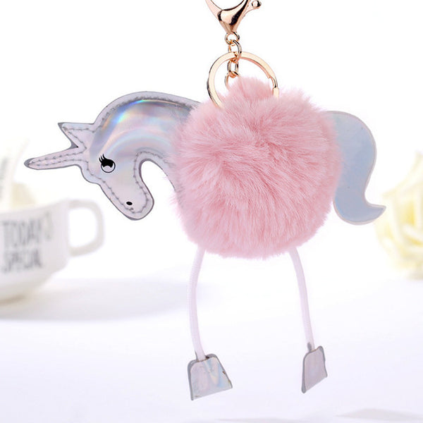 Fluffy Pompom Unicorn Keyring
