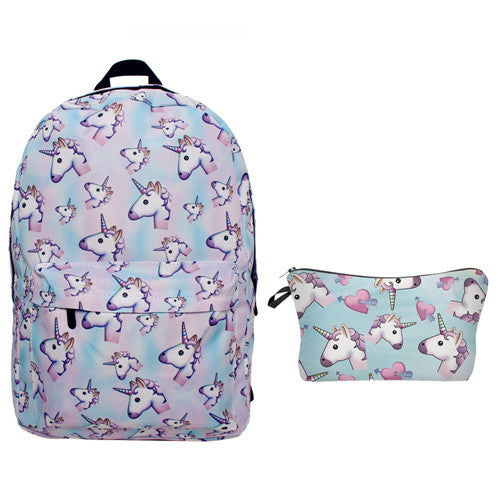 Unicorn Emoji Backpack with Pouch