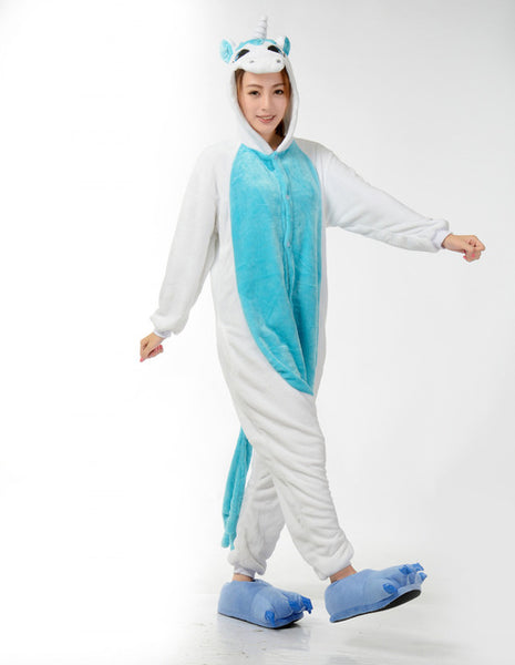 Adult Ladies Blue Unicorn Onesie
