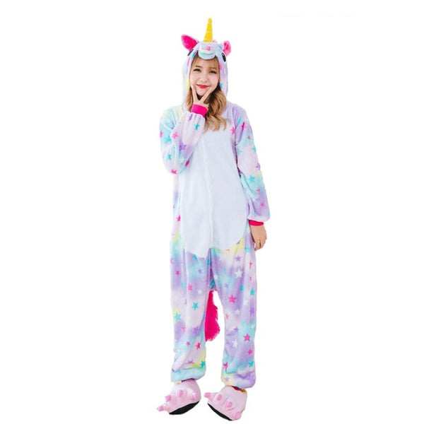 Adult Ladies Dotted Rainbow Unicorn Onesie