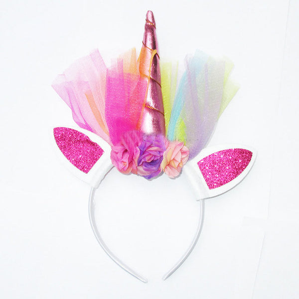 Unicorn Horn with Chiffon Unicorn Headband Glitter Hairband For Party