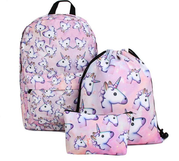 3 Piece Set Unicorn Backpack, Sports String Bag & Pencil Case