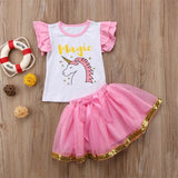 Unicorn Pink Top with Tutu Skirt