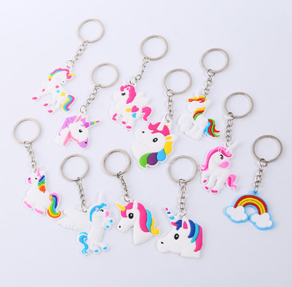 12pcs Unicorn Party Rubber Keychain Birthday Party Decorations Favors
