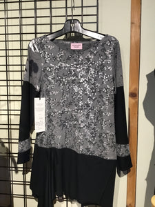 HS1-043 Grey/Silver and Black Bamboo Knit Tunic