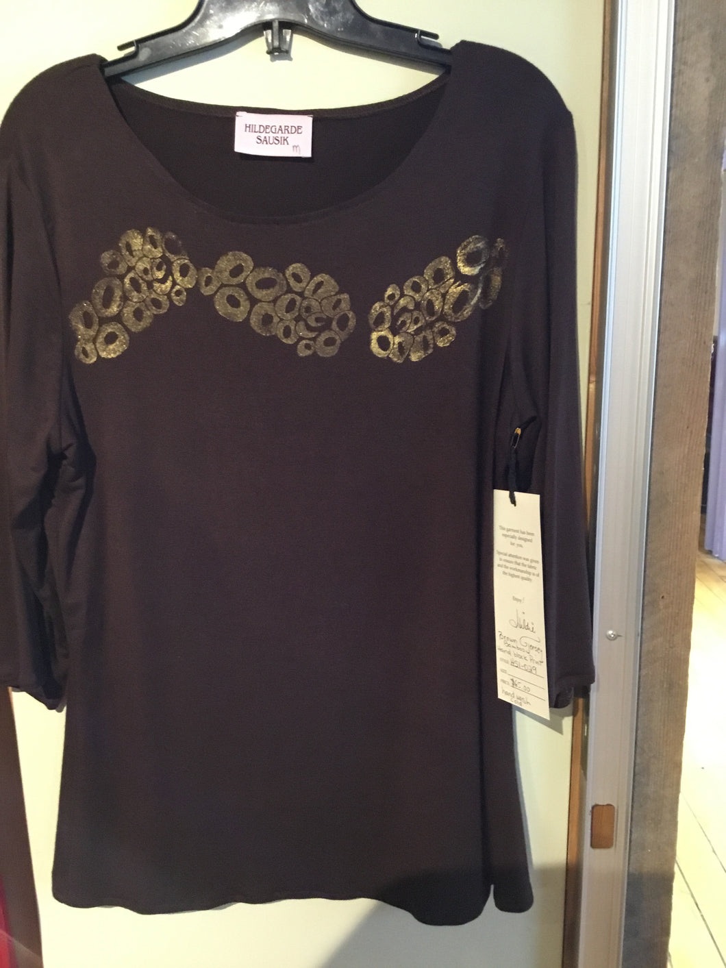 HS1-030 Brown Top. Handblocked S/M