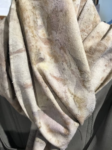HS1-018 scarf. Eco printed silk noise.