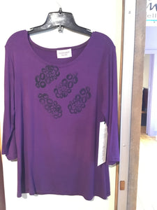 HS1-031 Plum Top Blockprinted. M/L