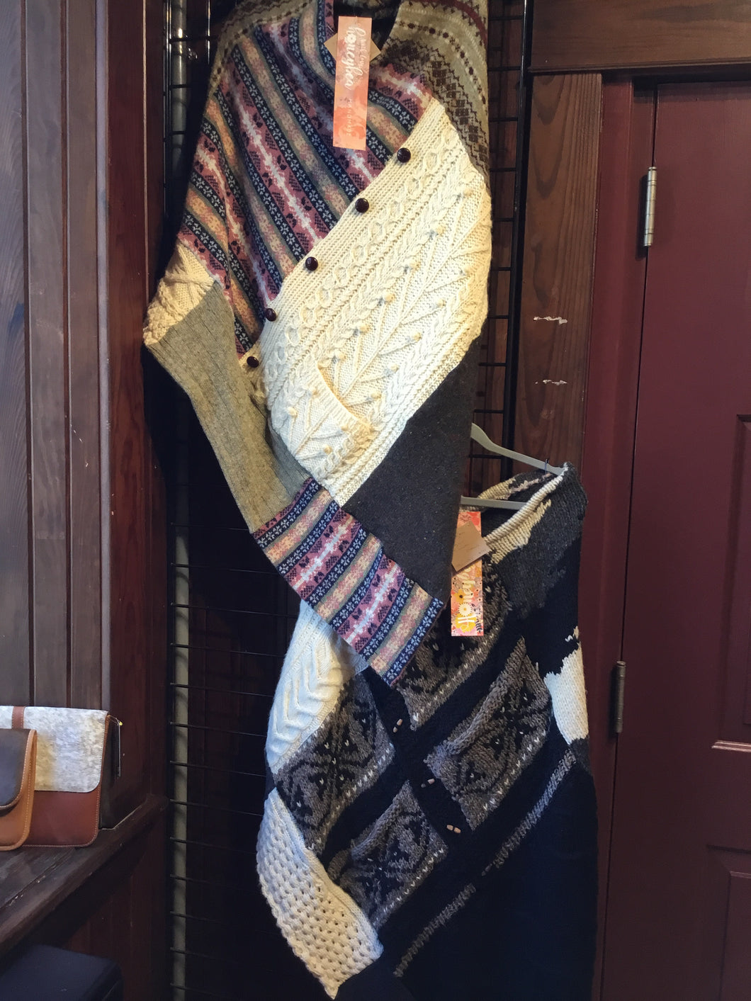 TB1-043 HoneyBea up-cycled sweater poncho