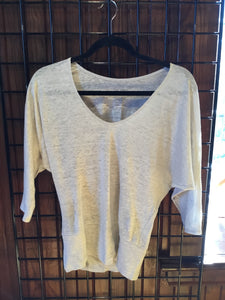 TB1-044 Batwing 3/4 Sleeve Top Linen by Zen Nomad