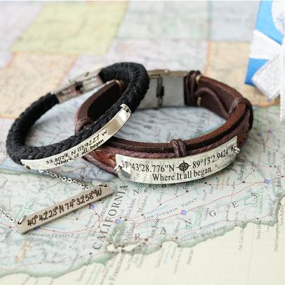 cutom latitude & longitude coordinates jewelry set represent your life's best journey