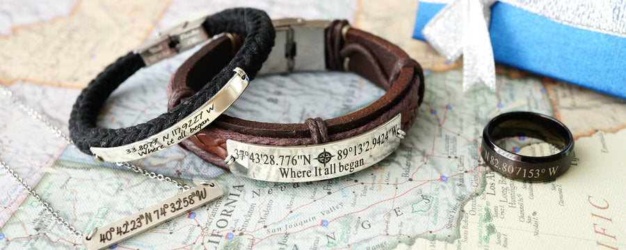 cutom latitude & longitude coordinates bracelets for his and hers, silver bar necklaces, mens rings black