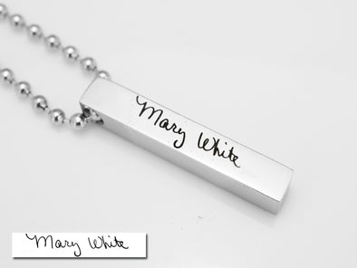 Mens Handwritten Necklace, Custom Handwriting Necklace