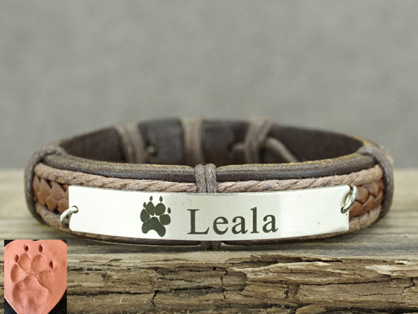 Actual Dog / Cat Paw Print Bracelet, Pet Memorial Bracelet, Pet Name Engraved, Brown Genuine Leather