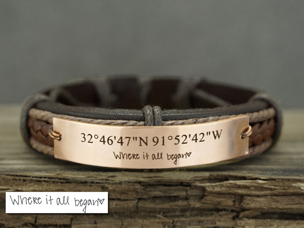 Custom Handwriting Bracelet, Coordinate Bracelet