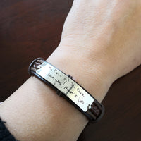 Custom Handwriting Bracelet, Coordinate Engraved Bracelet, Memorial Signature Bracelet, Leather Cuff