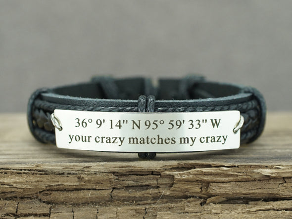 Custom Coordinates Bracelet, your crazy matches my crazy